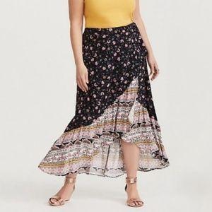 TORRID Boho Floral Hi-Lo Faux Wrap Skirt Hippie